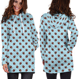 Football Pattern Light Blue Hoodie Dress