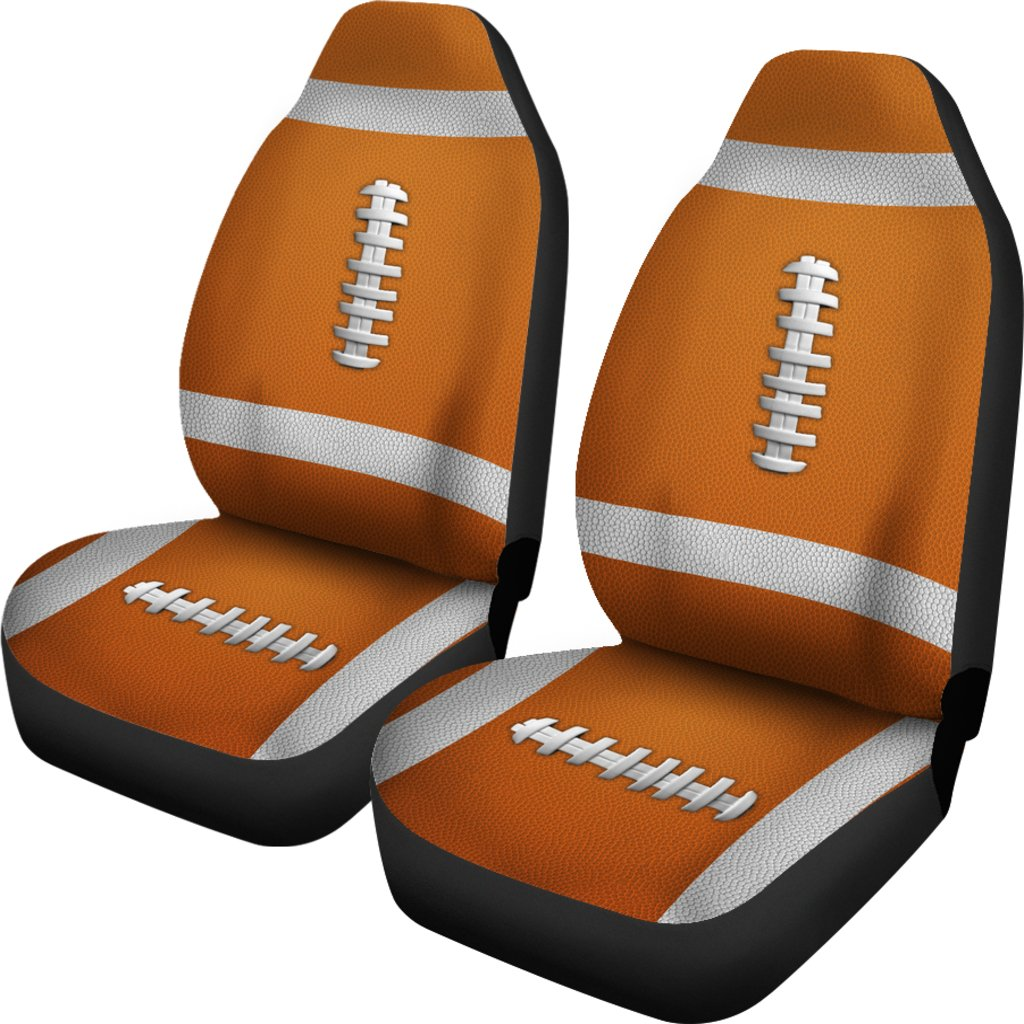 Football Orange Premium Car Seat Covers Set Of 2