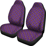 Football Pattern Purple Premium Car Seat Covers (Set of 2)