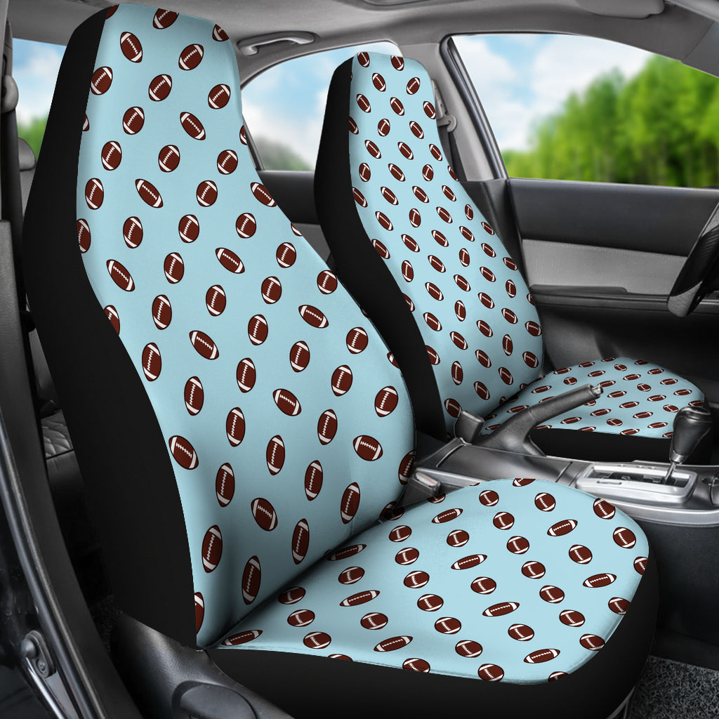 Football Pattern Light Blue Premium Car Seat Covers Set Of 2