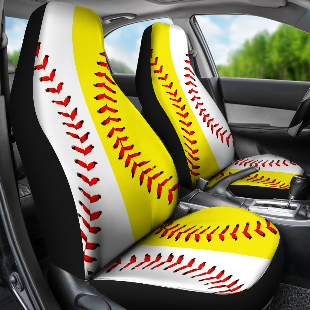 Baseball Softball Half Premium Car Seat Covers Set