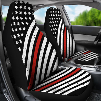 Distressed Thin Red Line Premium Car Seat Covers (Set of 2)