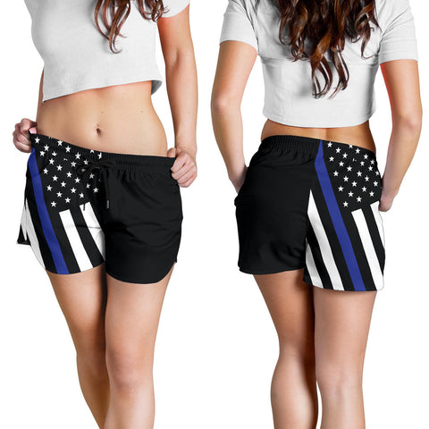 Distressed Blue Line Women's Shorts