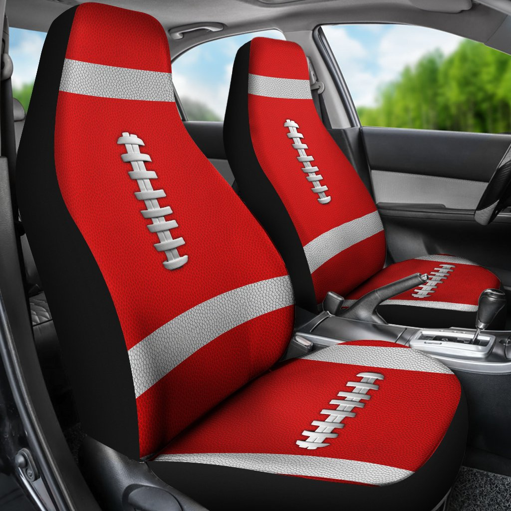 Football Light Red Premium Car Seat Covers (Set of 2)