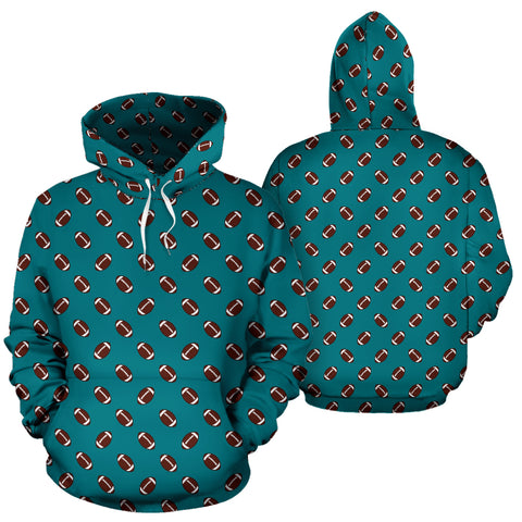Football Pattern Teal Premium Hoodie