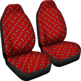Football Pattern Red Premium Car Seat Covers (Set of 2)