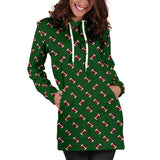 Football Pattern Green Hoodie Dress