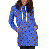 Football Pattern Royal Blue Hoodie Dress
