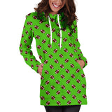 Football Pattern Kelly/Light Green Hoodie Dress