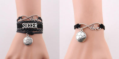 Leather Bracelet - 30% Off + S - Leather Soccer, Mom, & Love Charm Bracelets - 30% OFF
