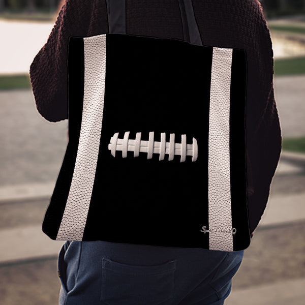 Football Black Linen Tote Bag