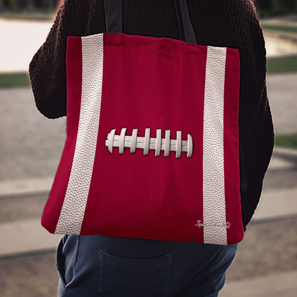 Football Burgundy Linen Tote Bag