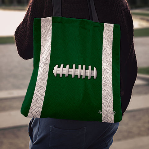 Football Green Linen Tote Bag