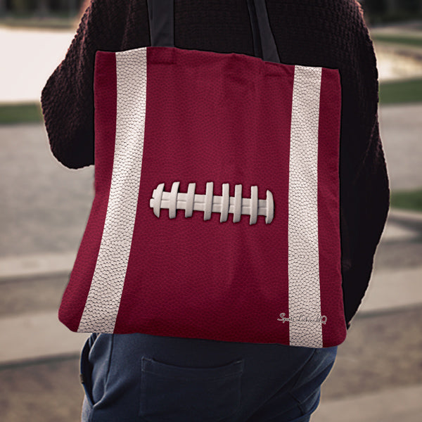 Football Maroon Linen Tote Bag
