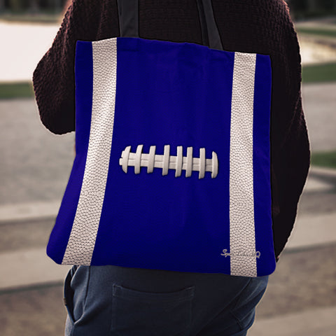 Football Navy Blue Linen Tote Bag