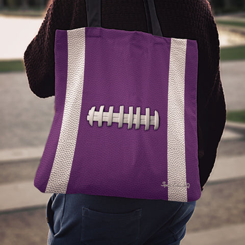 Football Purple Linen Tote Bag