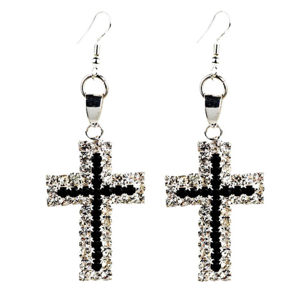 Elegant Rhinestone Cross Dangle Earrings Women