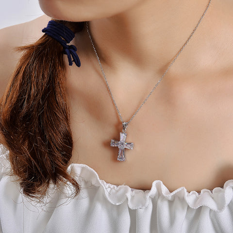 Elegant Cubic Zircon Cross Necklaces Pendants Silver Color For Women