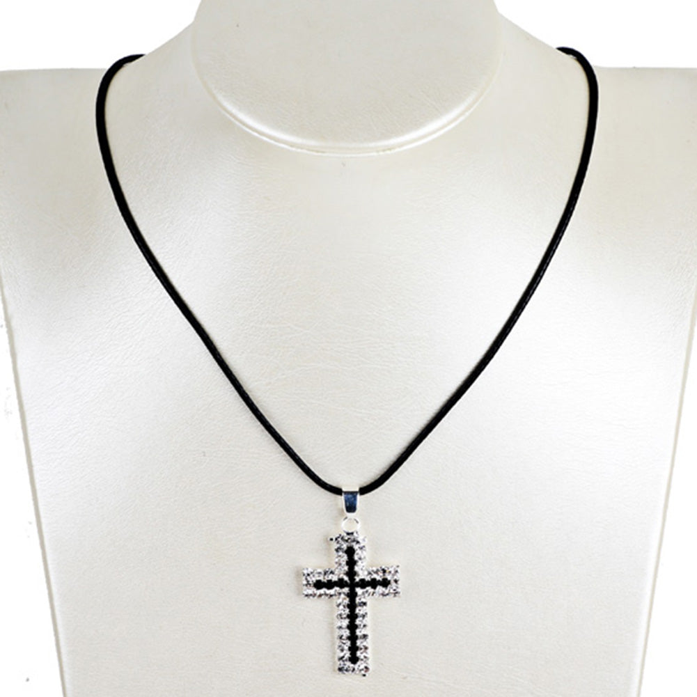 Men, Women Rhinestone Cross Pendant Necklaces