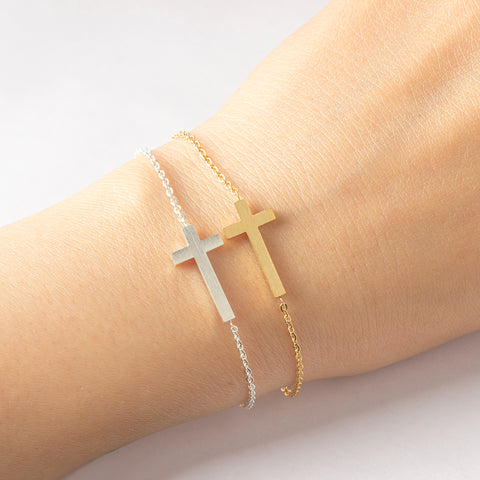Sideways Cross Bracelet for Women