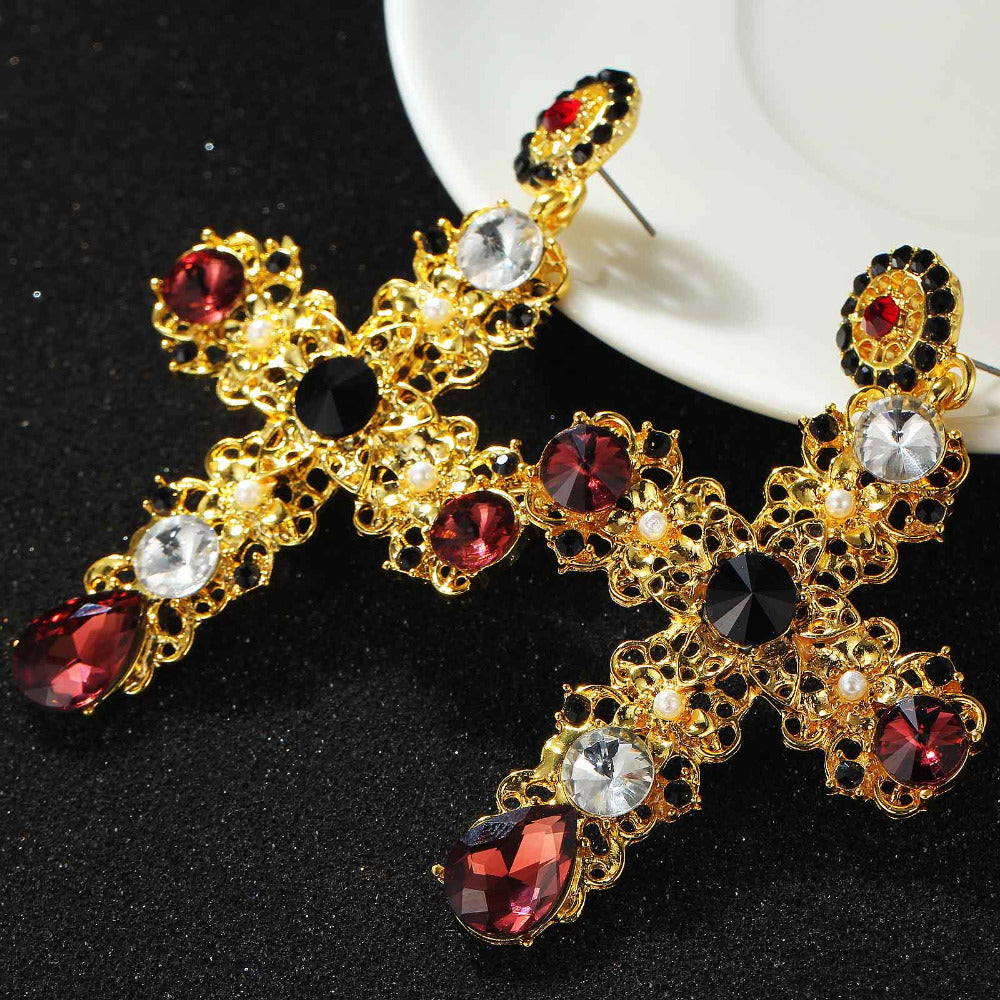 Crystal Gold Cross Dangle Earring with Gems For Women, Girls