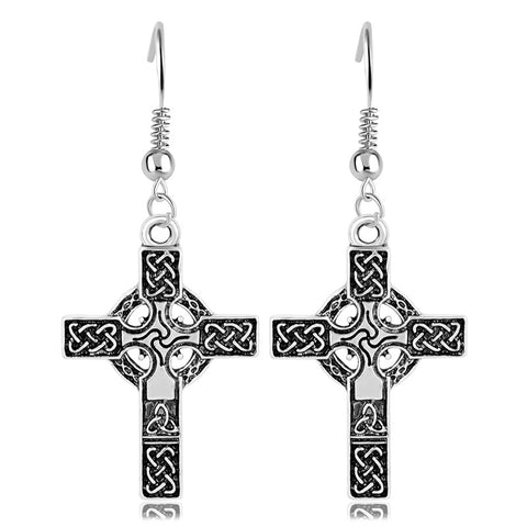 Celtic Knotwork Irish Cross Earrings