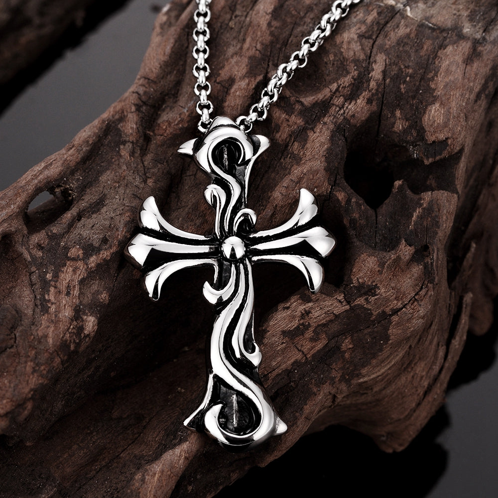 Cool Man Black Titanium Steel Necklace & Cross Pendant