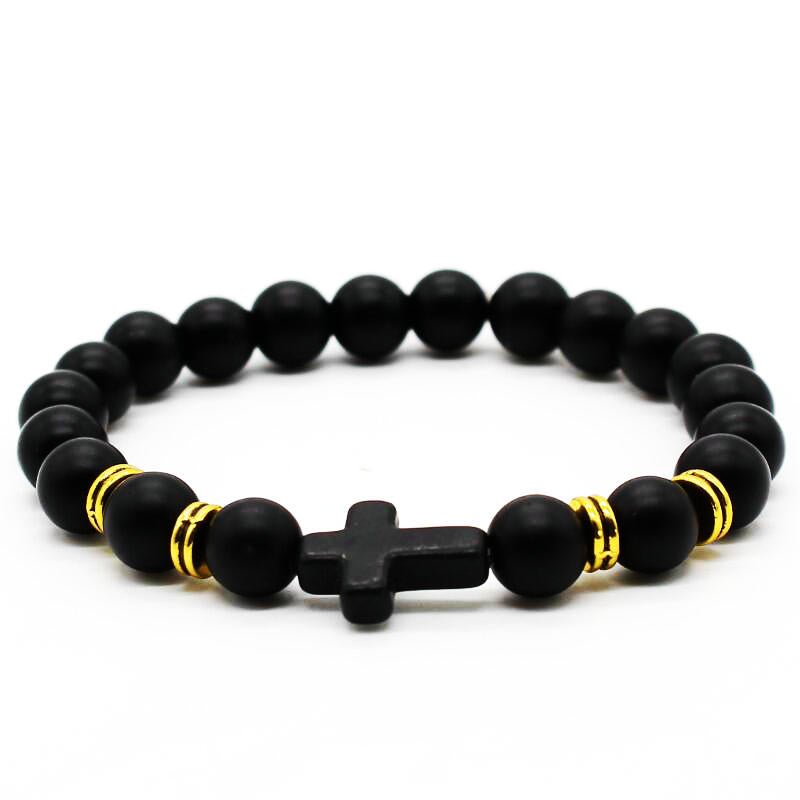 Cross Bracelet Men-Women Natural Frosted Matte Stone Beads