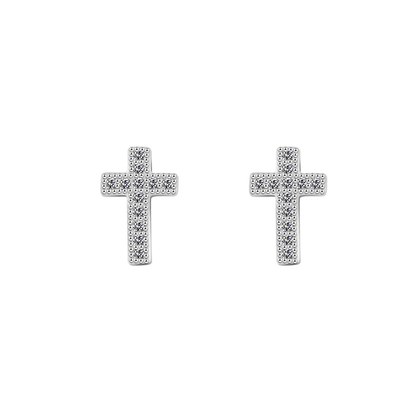 Cubic Zirconia Cross Stud Earrings