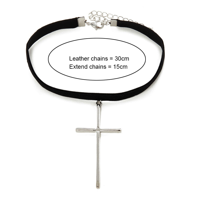 Choker Collar Silver Color Cross Pendant Necklace