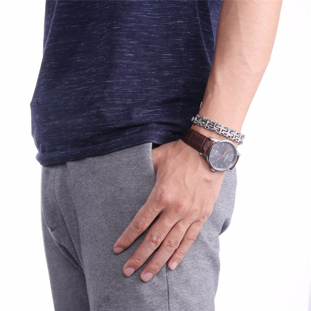Cross Inserted Bracelet For Men,
