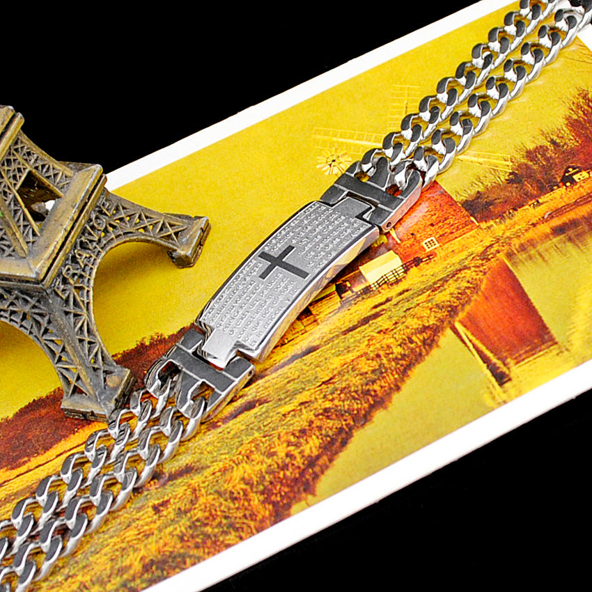 Stainless Steel Bracelet Double Chain Christian Scriptures Cross ID Bracelet