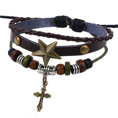 Cross Bracelet Leather for Men or Women