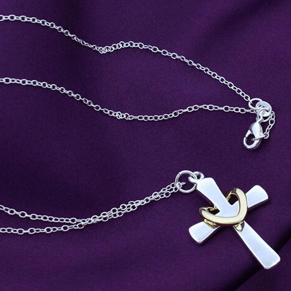 Womens Cross, Heart Pendant Necklace