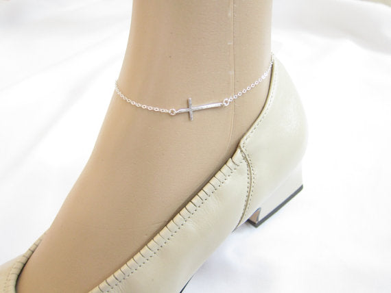 Ankle Bracelet, Silver, Gold Color Christian Cross
