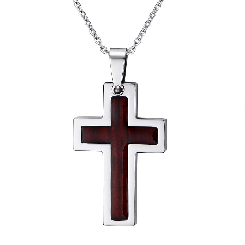 Wood Inlay Cross Stainless Steel Necklace Pendant