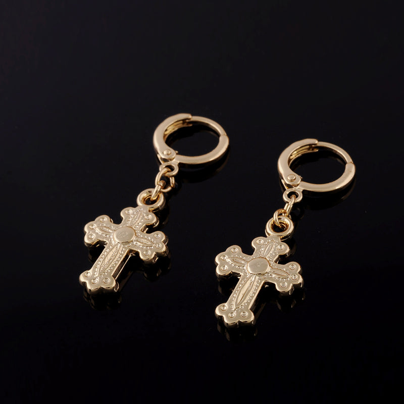 Yellow Gold Color Christian Cross Earrings