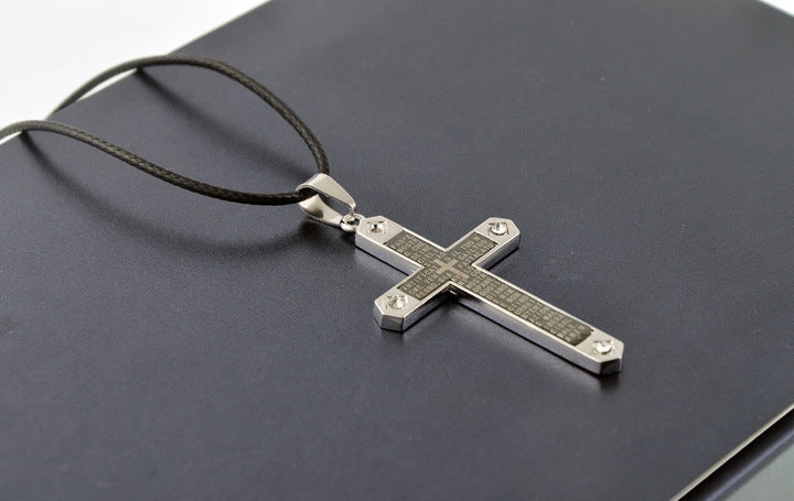 Men's Christian Cross Necklace & Pendant  Leather Rope Chain