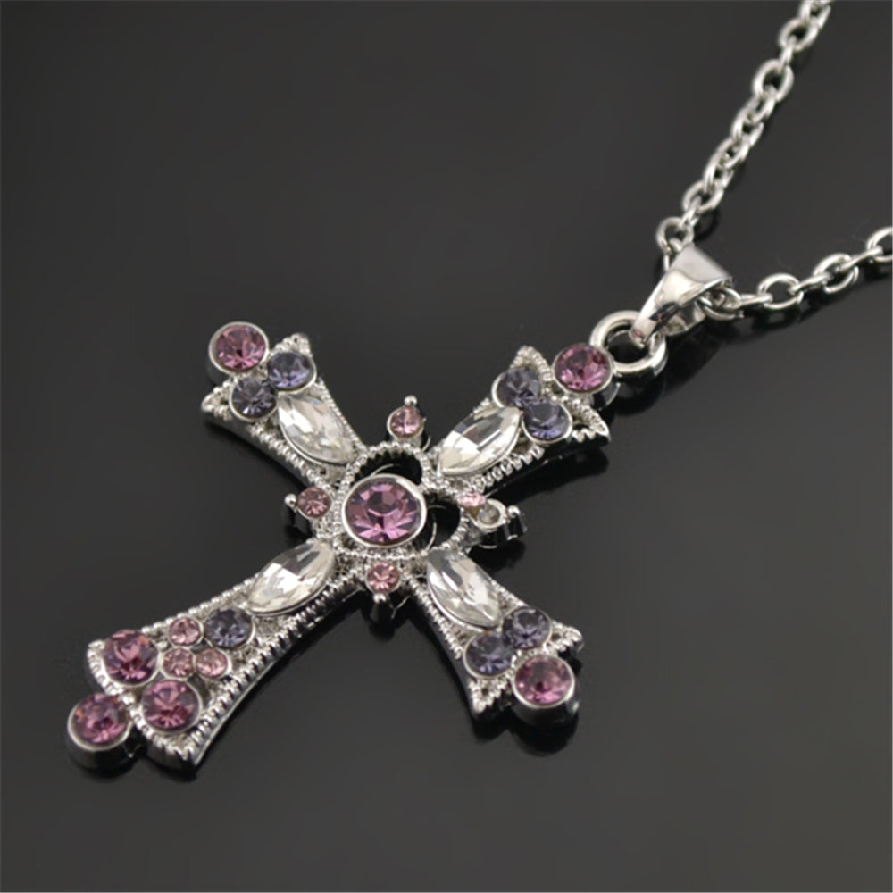 Purple Crystal Paved Cross Pendant for Woman