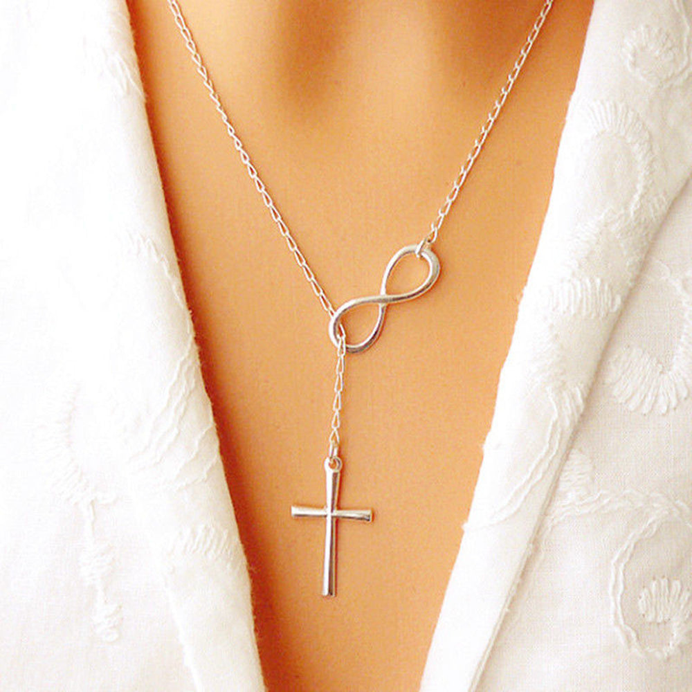 Chic infinity cross on a long silver chain