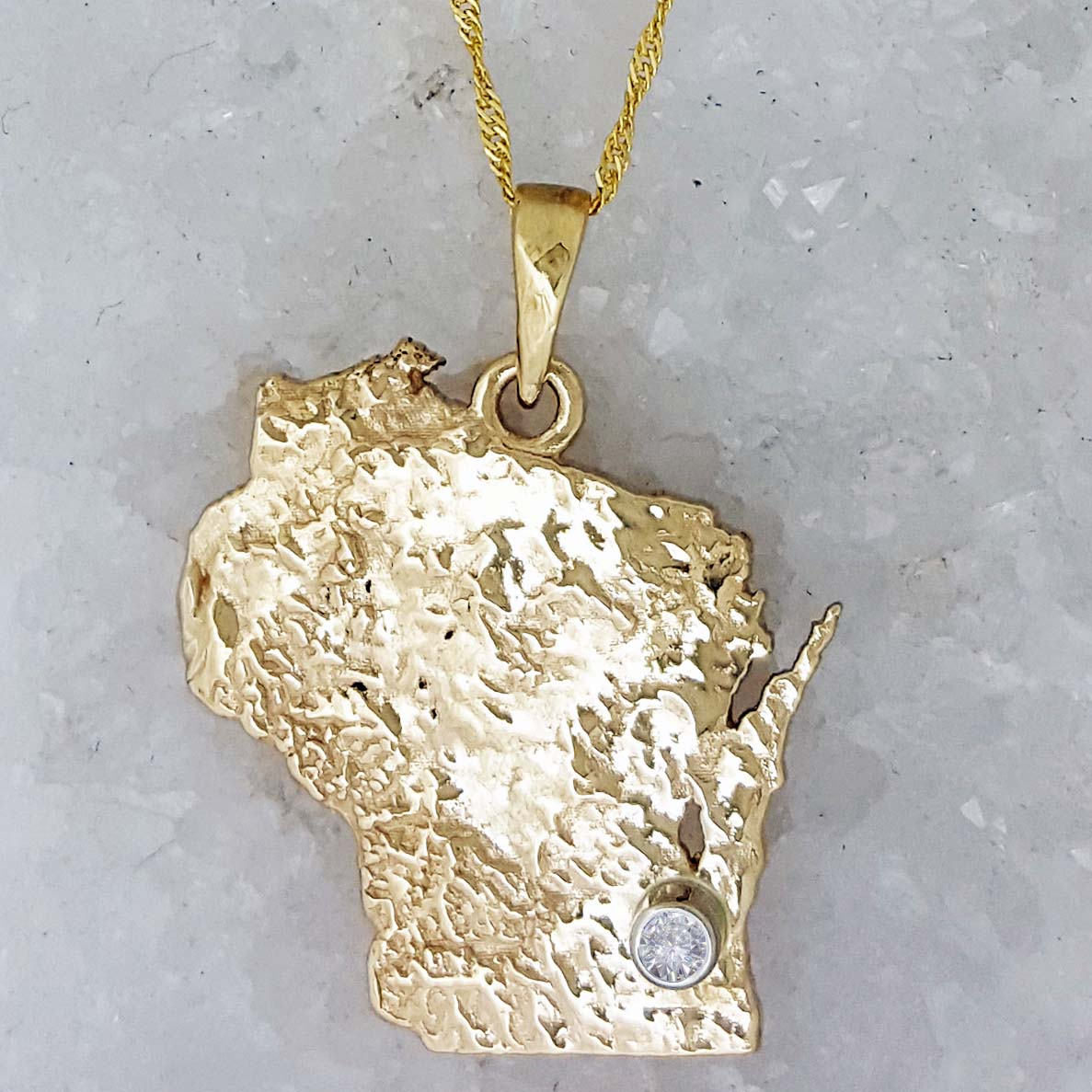 Custom gold state of wisconsin pendant bezel set with a 05ct custom gold state of wisconsin pendant bezel set with a 05ct diamond at your special location aloadofball Image collections