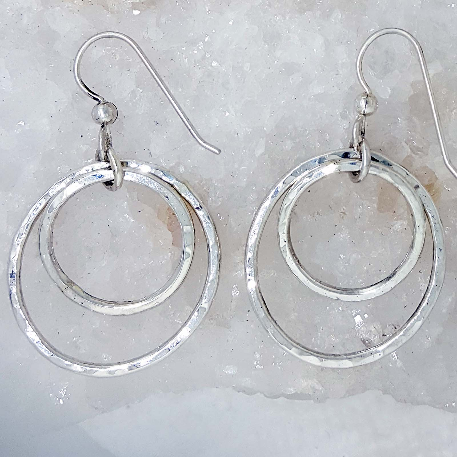 8fd12e5cb Hand Crafted Sterling Silver Dangle Hoop Earrings with a Hammered Finish