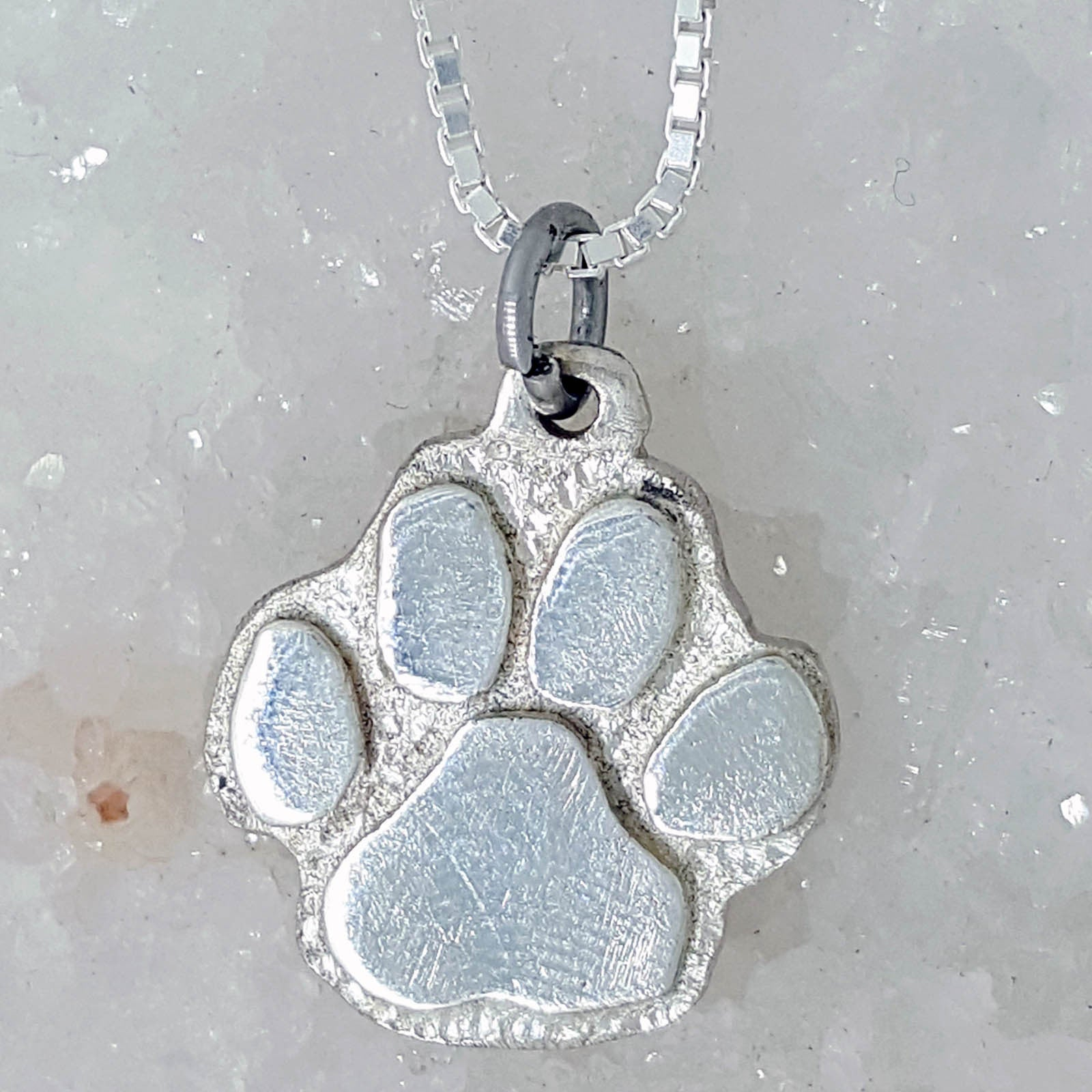 ad8ed64a2e355 Hand Created Sterling Silver (Dog or Cat) Paw Print Necklace