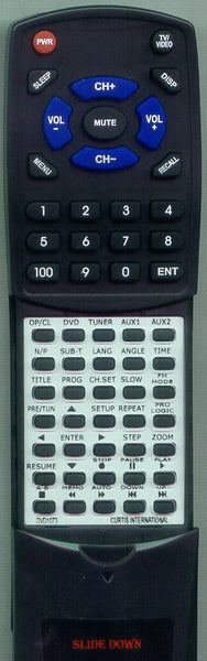 CURTIS INTERNATIONAL DVD1073 Replacement Remote