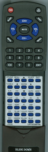 CURTIS INTERNATIONAL RTLCD3216E Replacement Remote