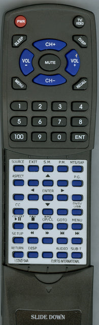 CURTIS INTERNATIONAL RTLCDVD194A Replacement Remote