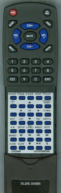 CURTIS INTERNATIONAL RTLCDVD2454AB Replacement Remote