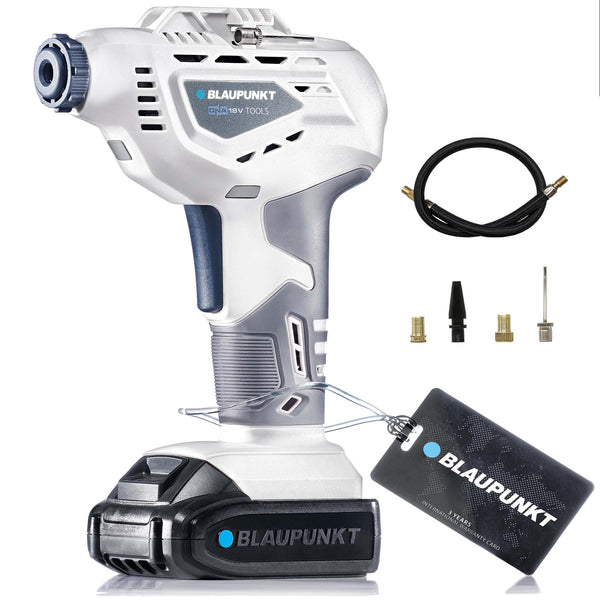 Blaupunkt Cordless Air Pump Inflator BP5171 - Li-Ion 18V - with Sports Ball, Tyre Valve and Presta Adaptors - 50cm Extension - 2Ah Battery and Charger
