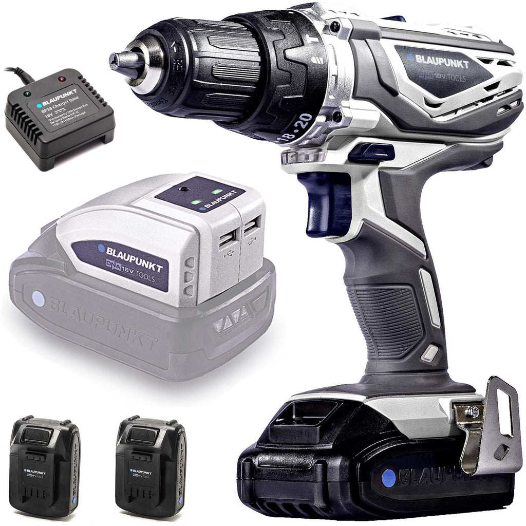 Blaupunkt Cordless Combi Drill BP6310C - 2x Li-Ion 18V Batteries and USB Adaptor Set