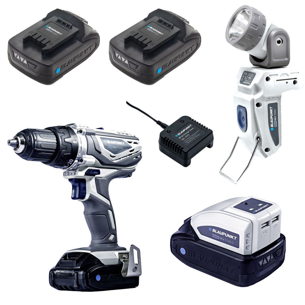 Blaupunkt Cordless Drill/Screwdriver Set - 2x Li-Ion 18V 2Ah Battery - Torch - USB Power Bank - Charger